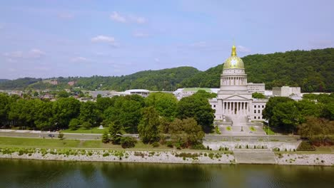 Aerial-of-the-capital-building-in-Charleston-West-Virginia