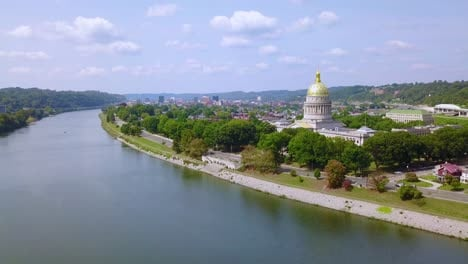 Aerial-of-the-capital-building-in-Charleston-West-Virginia-with-city-background-1