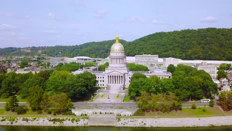 Aerial-of-the-capital-building-in-Charleston-West-Virginia-with-city-background-2