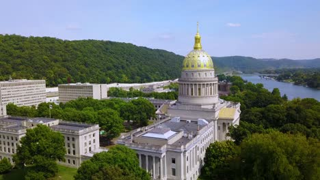 Beautiful-aerial-of-the-capital-building-in-Charleston-West-Virginia-1