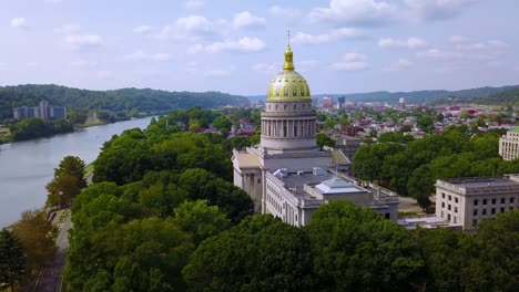 Beautiful-aerial-of-the-capital-building-in-Charleston-West-Virginia-with-city-background