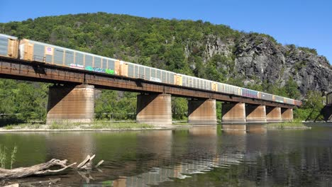 A-freight-train-travels-over-a-bridge-loaded-with-cargo-in-West-Virginia-1