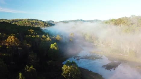 Beautiful-early-morning-aerial-of-fog-in-Appalachia-West-Virginia