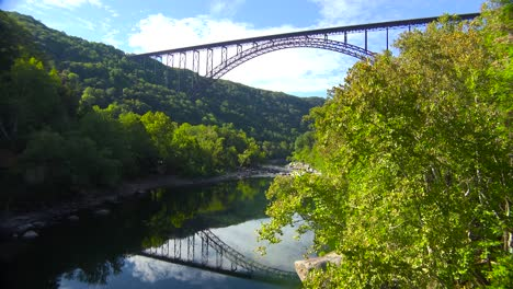 Low-angle-establishing-shot-of-the-New-Río-Gorge-Bridge-in-West-Virginia-1