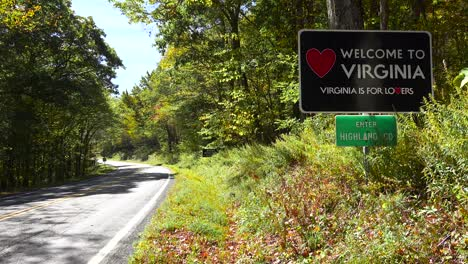 A-road-sign-welcomes-visitors-to-Virginia-which-is-for-lovers