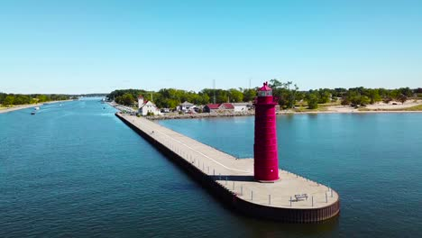Aerial-over-a-lighthouse-at-Muskegon-Michigan-2