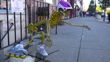 Halloween-skeletons-and-decorations-along-main-street-America