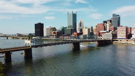 Beautiful-aerial-over-Pittsburgh-Pennsylvania-downtown-skyline