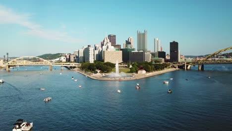 Beautiful-aerial-of-the-Monongahela-River-to-Pittsburgh-Pennsylvania-downtown-skyline