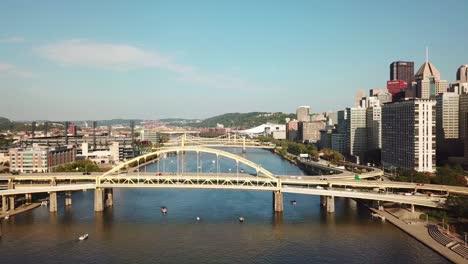 Beautiful-aerial-over-bridges-on-the-Monongahela-River-to-Pittsburgh-Pennsylvania-downtown-skyline