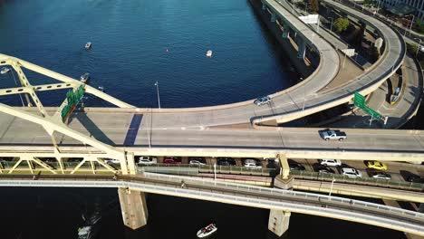 Beautiful-aerial-over-bridges-on-the-Monongahela-River-to-Pittsburgh-Pennsylvania-downtown-skyline-1