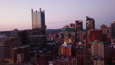 Beautiful-night-aerial-over-Pittsburgh-Pennsylvania-downtown-skyline-2