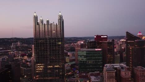 Beautiful-night-aerial-over-Pittsburgh-Pennsylvania-downtown-skyline-3