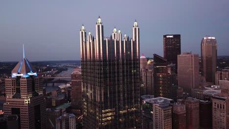 Beautiful-night-aerial-over-Pittsburgh-Pennsylvania-downtown-skyline-4