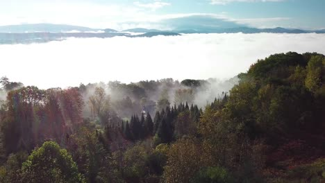 Aerial-over-a-New-Hampshire-countrside-in-the-fog
