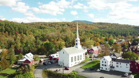 A-beautiful-aerial-over-Stowe-Vermont-perfectly-captures-small-town-America-or-New-England-beauty