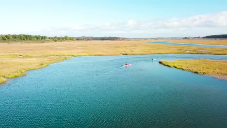 Aerial-over-kayakers-rowing-through-vast-bogs-along-the-Nonesuch-River-near-Portland-Maine-New-England-1