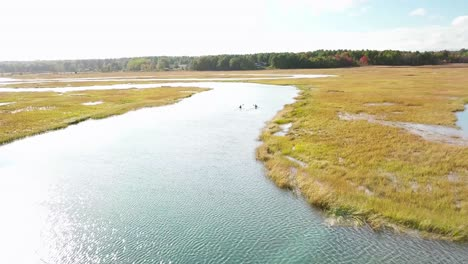 Aerial-over-kayakers-rowing-through-vast-bogs-along-the-Nonesuch-River-near-Portland-Maine-New-England-2