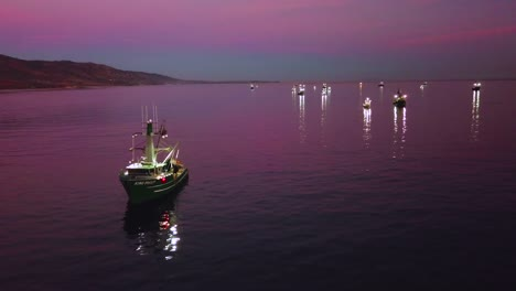 Aerial-of-squid-fishermen-with-fishing-boats-lit-by-bright-spotlights-off-the-coast-of-Malibu-California-3