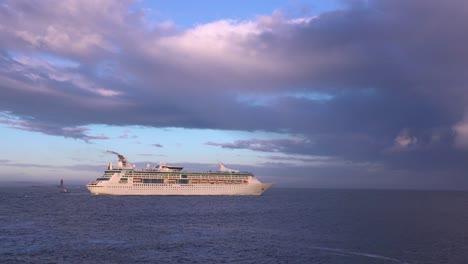 A-cruise-ship-sails-across-the-open-ocean