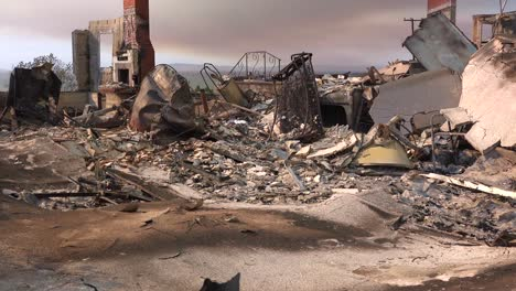 Tilt-up-reveals-the-charred-remains-of-a-home-following-the-2017-Thomas-fire-in-Ventura-County-California