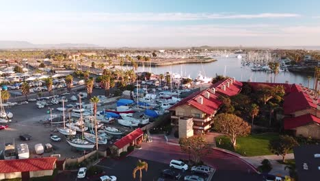Aerial-over-suburban-Southern-California-sprawl-harbor-and-condos-near-Ventura-California