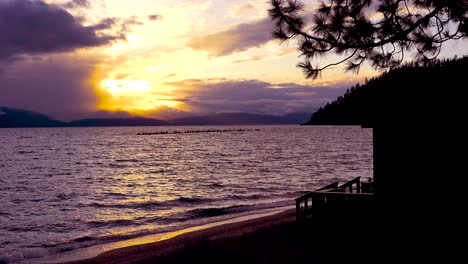 Sunset-behind-a-beautiful-cabin-along-the-shores-of-Lake-Tahoe
