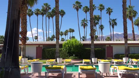 Establishing-shot-of-a-classic-retro-motel-in-Palm-Springs-or-Los-Angeles-California-will-swimming-pool-and-deck-chairs-2