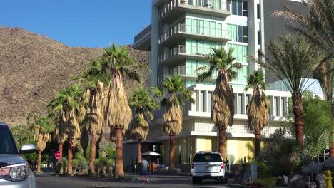 Tilt-up-establishing-shot-of-an-office-building-or-modern-condo-in-Palm-Springs-California