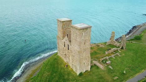 A-beautiful-drone-aerial-over-the-Reculver-Towers-an-abandoned-abbey-in-Kent-England-1