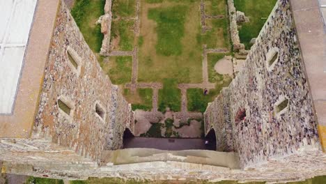 A-beautiful-drone-aerial-over-the-Reculver-Towers-an-abandoned-abbey-in-Kent-England-2