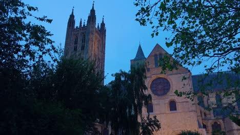 Beautiful-establishing-shot-at-dusk-of-Canterbury-Cathedral-in-Kent-England-2