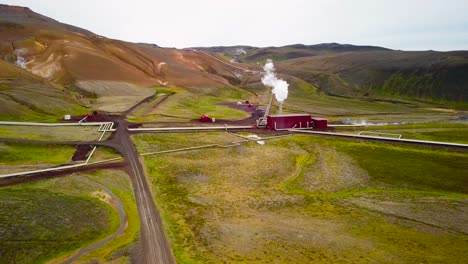 Drone-aerial-over-the-Krafla-geothermal-power-plant-in-Iceland-where-clean-electricity-is-generated