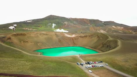 Beautiful-drone-shot-of-the-Krafla-geothermal-area-in-Iceland-with-green-lakes-and-steaming-hot-pots