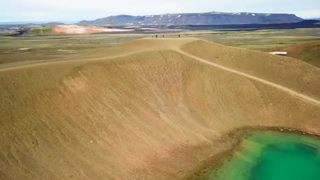 Beautiful-drone-shot-of-the-Krafla-geothermal-area-in-Iceland-with-green-lakes-and-steaming-hot-pots-4