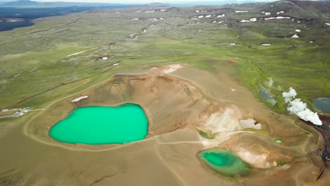 Beautiful-drone-shot-of-the-Krafla-geothermal-area-in-Iceland-with-green-lakes-and-steaming-hot-pots-5