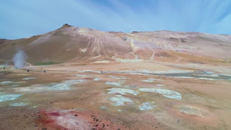 Dramatic-aerial-over-barren-Myvatn-geothermal-area-in-iceland-with-smoking-pools-and-geysirs
