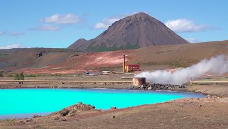 Vivid-volcanic-blue-water-behind-the-active-volcano-of-Krafla-in-Myvatn-Iceland