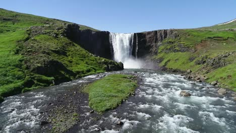 Aerial-of-a-generic-waterfall-in-Iceland-falling-over-steep-cliffs-1