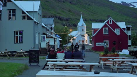 Diners-eat-and-drink-at-a-local-pub-in-Seydisfjordur-Iceland-1
