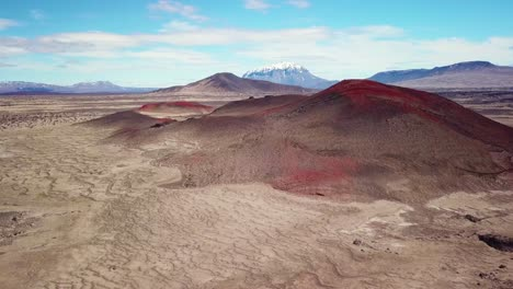 Spectacular-aerial-over-red-ash-topped-volcanoes-and-lava-flows-in-the-remote-highland-interior-of-Iceland