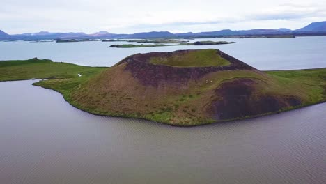 Beautiful-aerial-over-volcanic-cones-in-Lake-Myvatn-Iceland