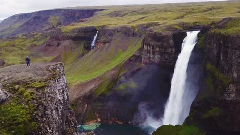 Aerial-over-the-beautiful-and-amazing-high-waterfall-of-Haifoss-in-Iceland