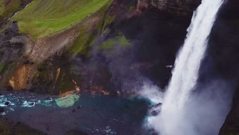 Aerial-over-the-beautiful-and-amazing-high-waterfall-of-Haifoss-in-Iceland-2