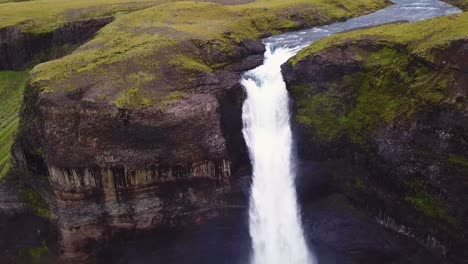 Aerial-over-the-beautiful-and-amazing-high-waterfall-of-Haifoss-in-Iceland-6