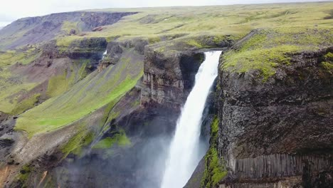 Aerial-over-the-beautiful-and-amazing-high-waterfall-of-Haifoss-in-Iceland-12