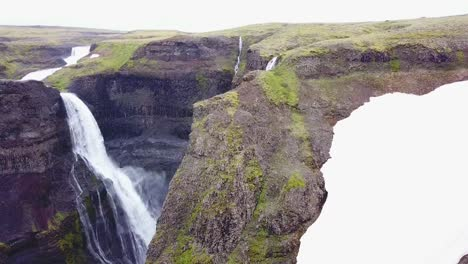 Aerial-over-the-beautiful-and-amazing-high-waterfall-of-Haifoss-in-Iceland-15