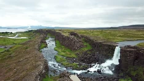 Beautiful-aerial-of-the-mid-Atlantic-ridge-running-through-Thingvellir-Iceland-1