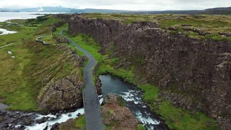 Beautiful-aerial-of-the-mid-Atlantic-ridge-running-through-Thingvellir-Iceland-2