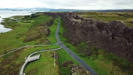 Beautiful-aerial-of-the-mid-Atlantic-ridge-running-through-Thingvellir-Iceland-3